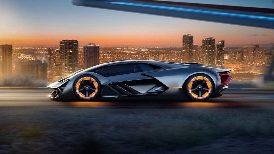 มุมมองด้านข้างของซูเปอร์คาร์ Lamborghini Terzo Millennio