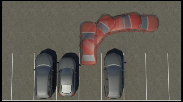 การถอยหลังเขาจอดรถระหว่างรถยนต์สองคัน โดยเข้าจอดรถจากทางขวา