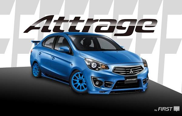 แต่ง Mitsubishi Attrage (แอททราจ) สีน้ำเงิน พร้อมชุดแต่งสปอร์ต ล้อแม็กสีฟ้า สปอยเลอร์ ไฟโปรเจคเตอร์
