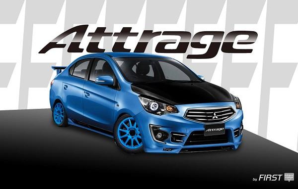 แต่ง Mitsubishi Attrage (แอททราจ) สีน้ำเงิน พร้อมชุดแต่งสปอร์ต ล้อแม็กสีฟ้า สปอยเลอร์ ไฟโปรเจคเตอร์ ฝากระโปรงดำ