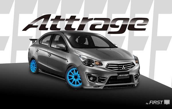 แต่ง Mitsubishi Attrage (แอททราจ) สีเทา พร้อมชุดแต่งสปอร์ต ล้อแม็กสีฟ้า สปอยเลอร์ โคมไฟรมดำ