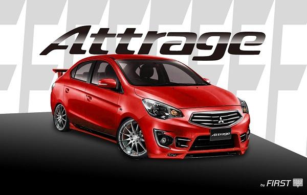 แต่ง Mitsubishi Attrage (แอททราจ) สีแดง พร้อมชุดแต่งสปอร์ต ล้อแม็ก สปอยเลอร์ โคมไฟรมดำ