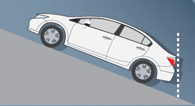 ห้ามใช้เกียร์ N หรือ D4 ในการขับรถลงทางลาดชัน