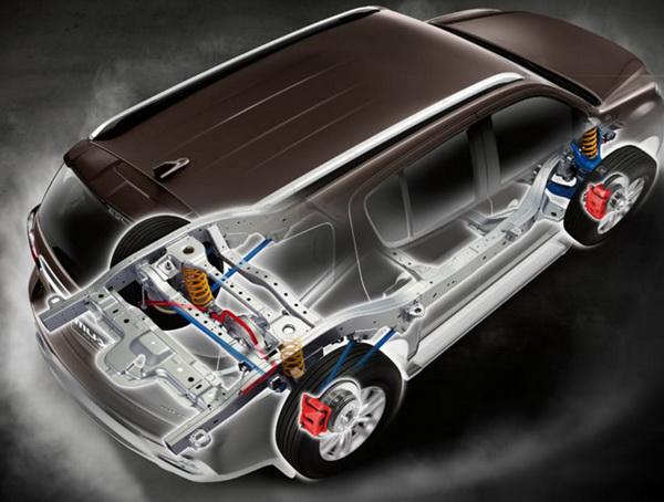 ช่วงล่างที่กระจายน้ำหนักเป็นเลิศ และการจัดวางตำแหน่งเครื่องยนต์เยื้องหลังเพลาหน้าแบบ Semi-midship เช่นเดียวกับรถสปอร์ต