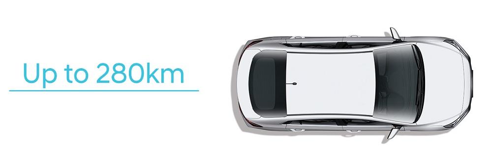 HYUNDAI IONIQ Electric สามารถวิ่งได้ระยะทางไกลสุดถึง 280 กิโลเมตรต่อการชาร์จหนึ่งครั้ง ซึ่งถือว่าเพียงพอต่อการใช้งานสำหรับการขับขี่ในเมืองที่ใช้งานในการขับรถไปกลับทำงานไม่เกินวันละ 100 กม.