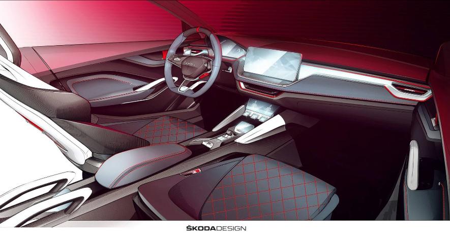 Skoda ในเวอร์ชั่น RS Plug-In Hybrid  ภายในห้องโดยสาร