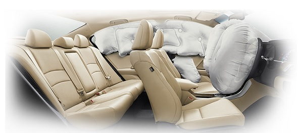 ระบบถุงลม 6 ตำแหน่ง เพื่อลดอาการบาดเจ็บของผู้ขับขี่และผู้โดยสาร
