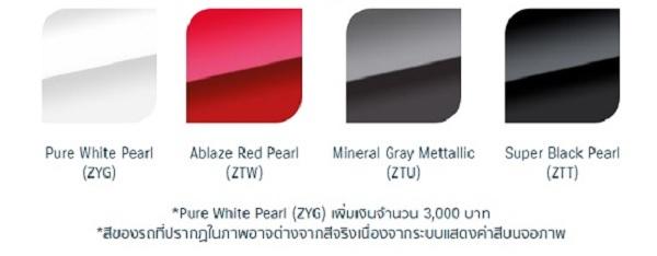 สีตัวถังของ Suzuki Celerio 2018-2019 มีให้เลือกทั้งหมด 4 สี