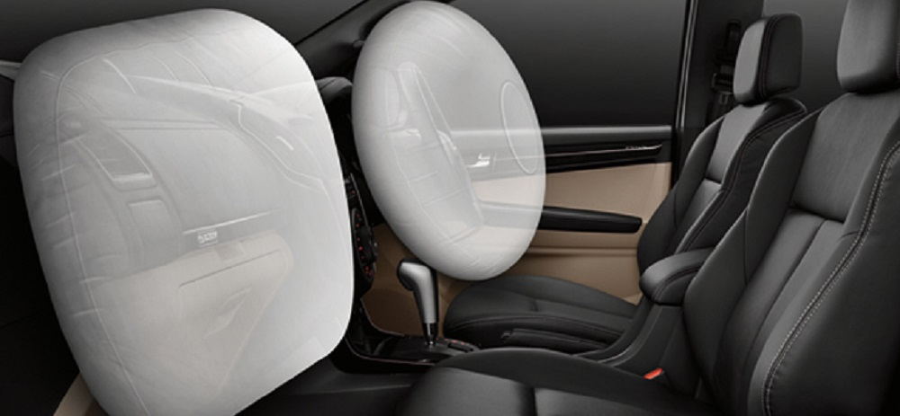 Dual SRS Airbags & Pretensioner with Load Limiter Safety Belt แอร์แบคคู่หน้า ทำงานร่วมกับเข็มขัดนิรภัยคู่หน้า พร้อมระบบดึงกลับและผ่อนแรงอัตโนมัติ