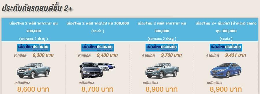 ประกันภัยรถยนต์ 2+ เมืองไทยประกันภัย