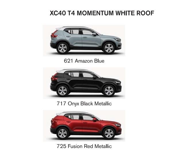 สีของตัวถัง The new Volvo XC40 (2019) รุ่น T4 MOMENTUM WITH WHITE ROOF
