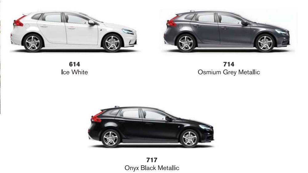 สีตัวถัง Volvo V40 2019 มีให้เลือกทั้งหมด 3 สี