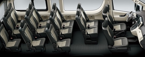 ภายในห้องโดยสารของ Toyota Hiace 2019 กว้างขวางหรูหราและนั่งสบายทุกที่นั่ง