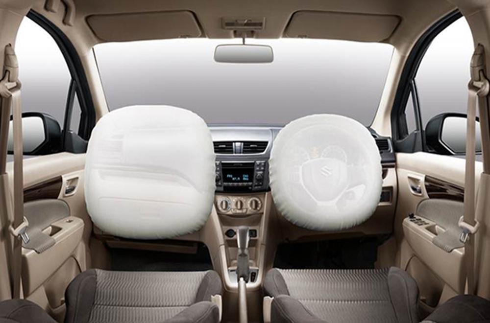 Suzuki Ertiga มอบความปลอดภัยในทุกเส้นทางผ่านถุงลมนิรภัยคู่หน้าแบบ SRS ที่ถือเป็นอุปกรณ์มาตรฐานสำหรับทุกรุ่นย่อย พร้อมด้วยระบบเบรกป้องกันล้อล็อกแบบ ABS ระบบกระจายแรงเบรกอิเล็กทรอนิกส์ EBD และ โครงสร้างตัวถังแบบเทค (TECT)
