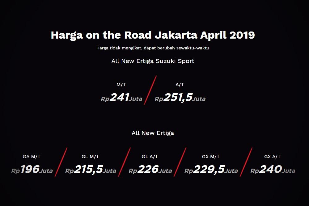 All-new Suzuki Ertiga Sport 2019 ในอินโดนีเซีย ตั้งราคาไว้ ดังนี้  รุ่นเกียร์ธรรมดา  ราคา 540,000 บาท และ  รุ่นเกียร์อัตโนมัติ  ราคา 564,000 บาท