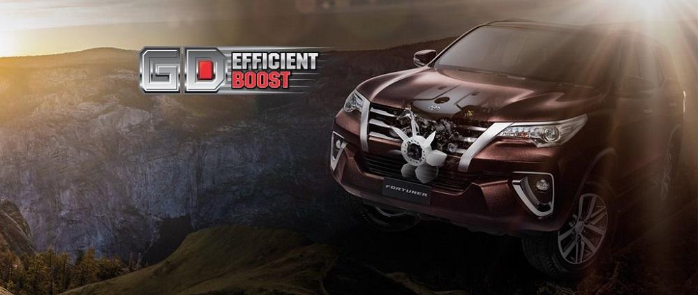New Toyota Fortuner 2.4 G มาพร้อมกับเครื่องยนต์ GD Efficient Boost  ลดการสูญเสียความร้อน และแรงเสียดทานของเครื่องยนต์ ให้แรงบิดสูงสุดในรอบกว้าง Flat Torque พร้อมประหยัดเป็นเยี่ยมในทุกการเดินทาง