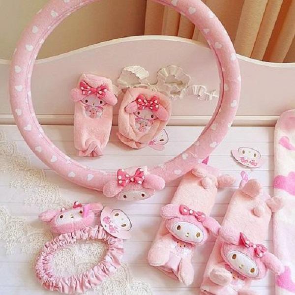 ชุดแต่งรถ น่ารัก ลาย My Melody สีชมพู 5 ชิ้น