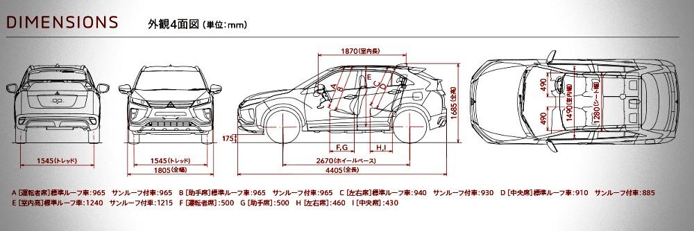 มิติตัวถังของ  Mitsubishi Eclipse Cross 2019