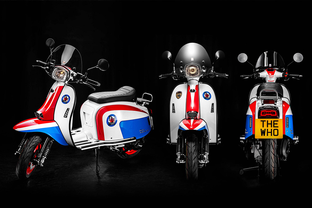 Scomadi TT125i และ Scomadi TT200i The Who Limited Edition จะตกแต่งด้วย 3 สีหลัก สะดุดตา คือแดง น้ำเงิน