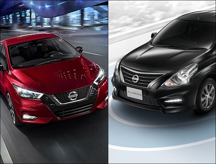 ดีไซน์ด้านหน้า ของ Nissan Almera 2020 (ซ้าย) VS Nissan Almera 2019 (ขวา)