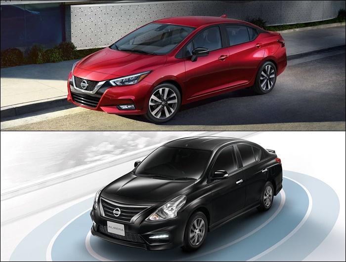 ดีไซน์ด้านข้าง ของ Nissan Almera 2020 (บน) VS Nissan Almera 2019 (ล่าง)