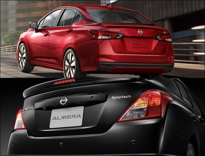 ดีไซน์ด้านหลัง ของ Nissan Almera 2020 (บน) VS Nissan Almera 2019 (ล่าง)