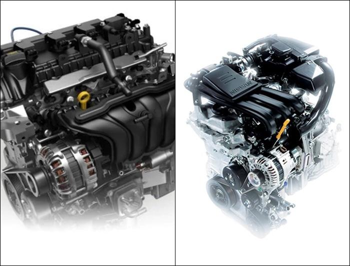เครื่องยนต์ของ Nissan Almera 2020 (ซ้าย) VS Nissan Almera 2019 (ขวา)