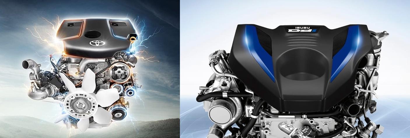 ขุมพลังของ Toyota Revo Rocco 2019 (ซ้าย) และ Isuzu D-Max 2020 (ขวา)
