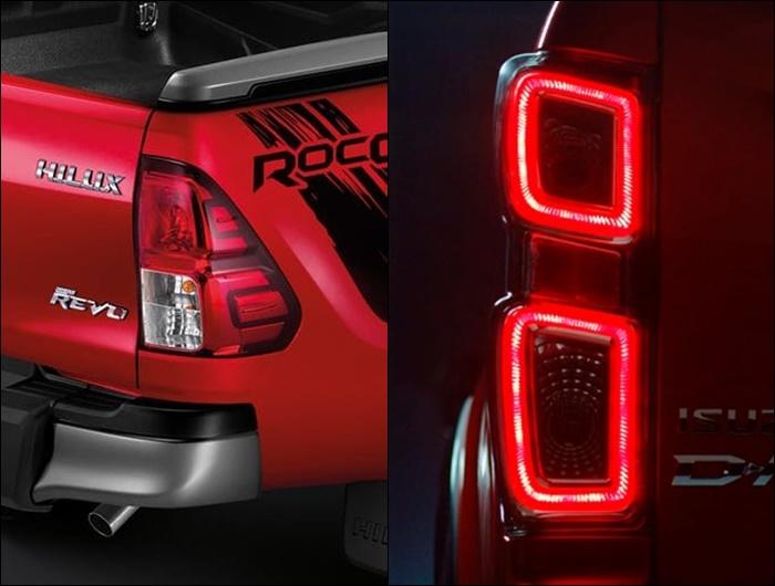 ไฟท้ายของ Toyota Revo Rocco 2019 (ซ้าย) และ Isuzu D-Max 2020 (ขวา)