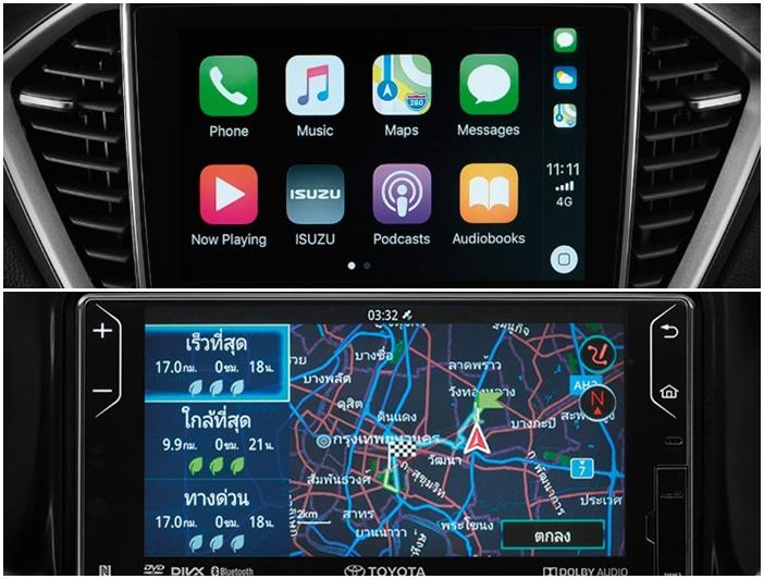 จอแสดงผลของ Toyota Revo Rocco 2019 (ล่าง) และ Isuzu D-Max 2020 (บน)