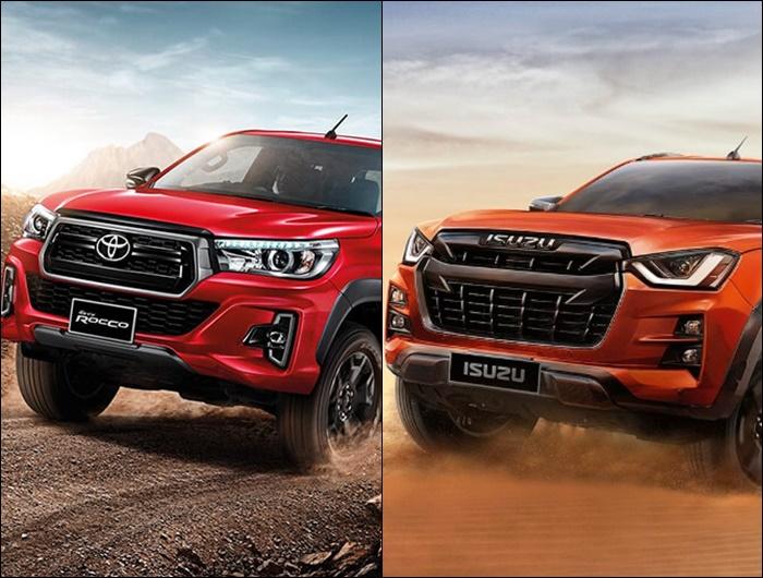 ด้านหน้าของ Toyota Revo Rocco 2019 (ซ้าย) และ Isuzu D-Max 2020 (ขวา)
