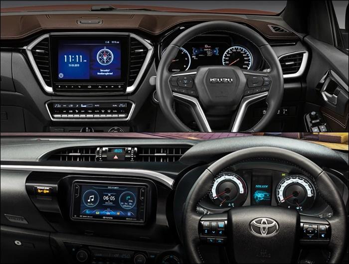 ภายในของ Toyota Revo Rocco 2019 (ล่าง) และ Isuzu D-Max 2020 (บน)