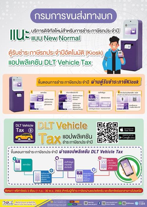 ขนส่ง เปิดให้จ่ายภาษีรถยนต์ผ่านตู้คีออส และแอปฯ DLT Vehicle Tax