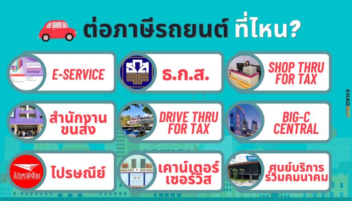 ต่อภาษีรถยนต์ 2564 ที่ไหนได้บ้าง