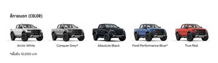 Ford Ranger Raptor 2021มี 5 เฉดสี