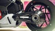 อเตอร์ที่ใช้ขับเคลื่อน BMW Motorrad Vision DC Roadster ติดตั้งอยู่ใต้แบตเตอรี่ที่กินพื้นที่ไปมาก ซึ่งจริง ๆ แล้วมอเตอร์เองมีขนาดกะทัดรัดและเชื่อมต่อกับเพลากลางเพื่อส่งกำลังขับเคลื่อนไปยังล้อหลังโดยตรง - 5