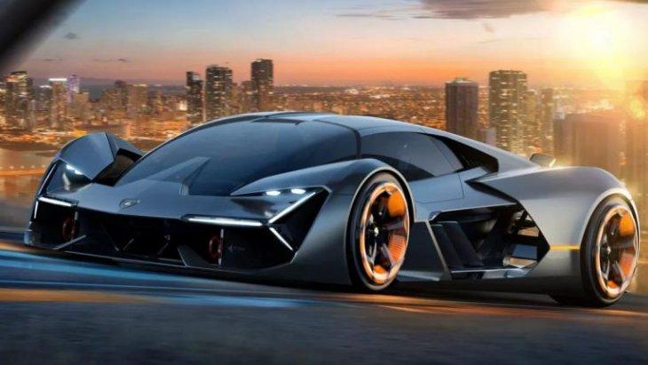 มุมมองด้านหน้าของซูเปอร์คาร์ Lamborghini Terzo Millennio