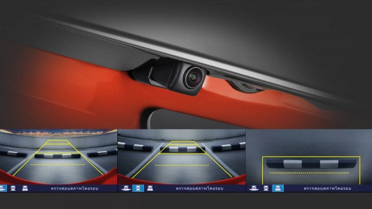 กล้องมองหลังสามารถปรับมุมมองได้ 3 ระดับ ช่วยเพิ่มความปลอดภัยในขณะถอยหลังจอด