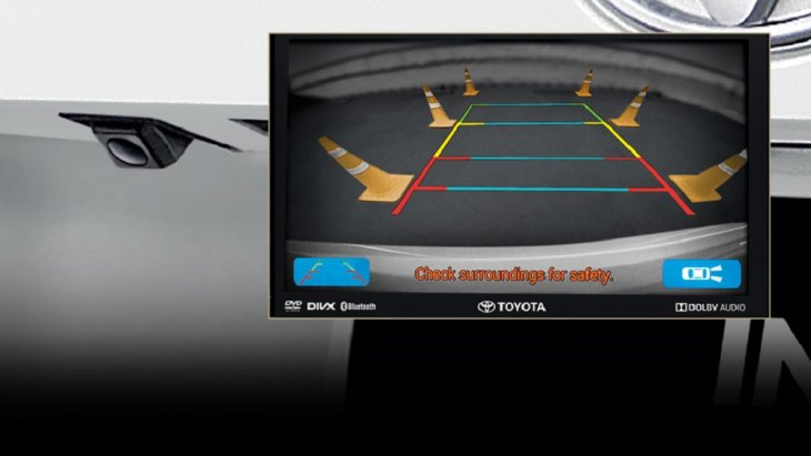 กล้องมองหลังของ Toyota Innova Crysta 2018   มาพร้อมกับฟังก์ชั่นการมองเห็นปรับเปลี่ยนได้ 3 รูปแบบ ที่แม่นยำด้วยเส้นกะระยะแบบปรับตามการหมุนของพวงมาลัย ช่วยให้ถอยจอดได้อย่างมั่นใจและปลอดภัยมากยิ่งขึ้น