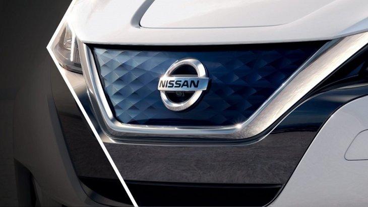 Nissan LEAF  สวยโดดเด่นสะดุดตาด้วยกระจังหน้าสีฟ้า V-Motion รูปแบบสามมิติ