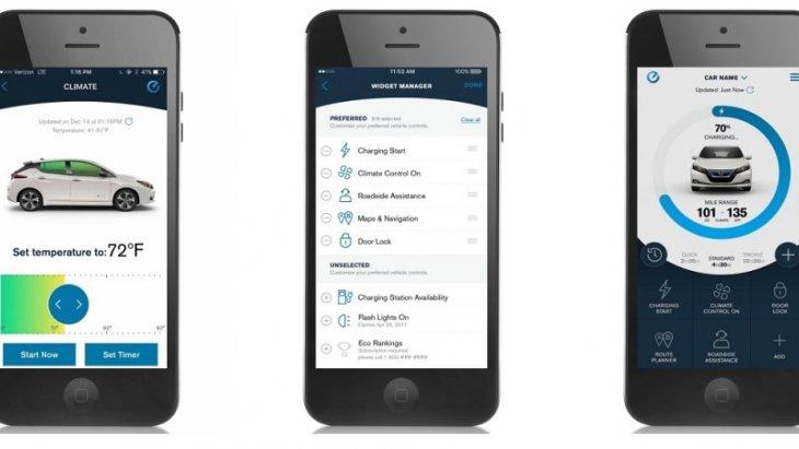 NISSANCONNECT® EV พร้อมบริการจากSIRIUSXM®  ช่วยให้คุณสามารถเข้าถึง Nissan LEAF จากสมาร์ทโฟนหรือ smartwatch ที่ใช้งานร่วมกันได้โดยใช้บริการที่มีให้กับ NissanConnect EV with Services