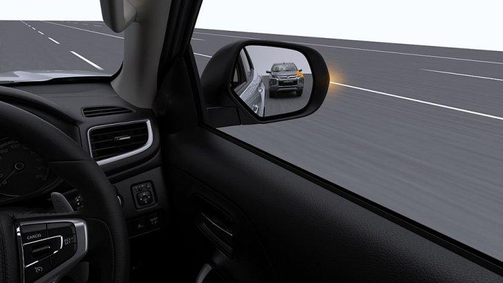 ระบบสัญญาณเตือนจุดอับสายตา พร้อมระบบเตือนขณะเปลี่ยนเลน (Blind Spot Warning with Lane Change Assist - BSW with LCA) ระบบจะตรวจจับรถคันอื่นที่วิ่งอยู่ในเลนถัดไปทางด้านหลัง ในระยะประมาณ 70 ม. และส่งสัญญาณไฟเตือนบนกระจกมองข้างให้ผู้ขับขี่ทราบ