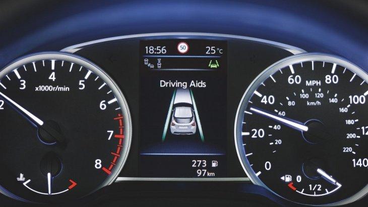 หน้าจอสี TFT ขนาด 5 นิ้วความละเอียดสูง แสดงผลการช่วยเหลือผู้ขับขี่ขั้นสูงของ NISSAN MICRA