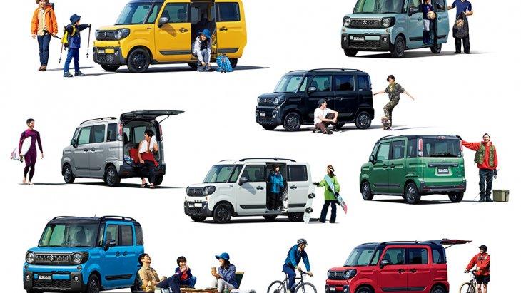 Suzuki Spacia Gear 2019 มีสีของตัวถังมีให้เลือกทั้งหมด 8 สี แบ่งเป็นแบบ ทู-โทน 5 สี และโมโน-โทน 3 สี (ตามภาพ)