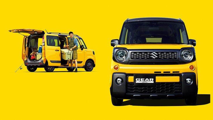 องค์ประกอบด้านหน้าของ Suzuki Spacia Gear 2019 ได้รับการออกแบบใหม่ ตั้งแต่หน้ากากหน้าพ่นดำ ไฟทรงกลม กันชนหน้า-หลังใหม่ เพิ่มคิ้วกันกระแทกและราวหลังคา ไปจนถึงล้อกระทะสีดำ