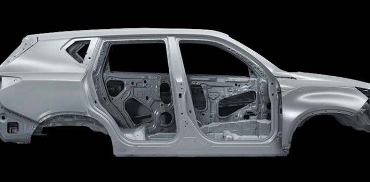 โครงสร้างตัวถัง Ssangyong Rexton W 2019 ทำด้วยเหล็ก  1.5Gpa –ซึ่งเป็นรถยนต์คันแรกของโลกที่มีความแข็งแรงสูงมีความหนาแน่นและมีแรงดึงสูงเป็นพิเศษ
