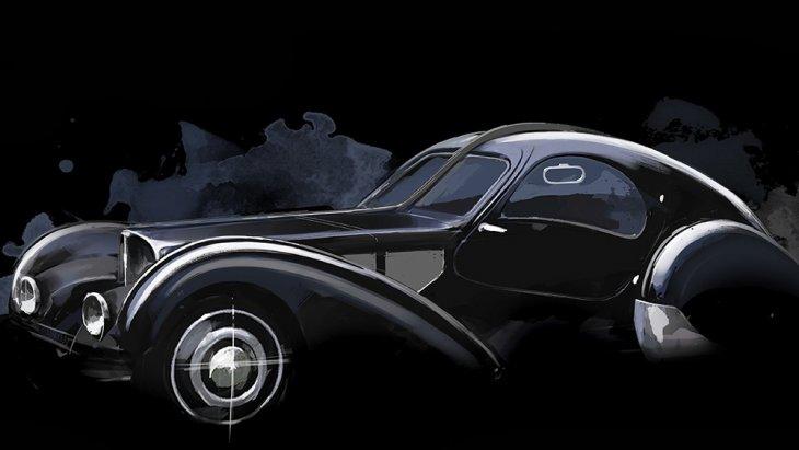 """นี่คือโฉมของ Bugatti Type 57 SC Atlantic ของ Jean Bugatti ซึ่งรู้จักกันในชื่อ La Voiture Noire หรือ """"รถสีดำ"""" ที่สาบสูญ"""