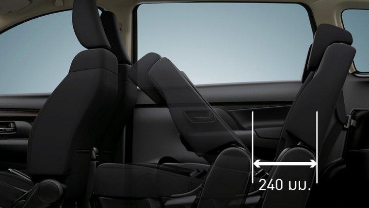 ที่นั่งแถวที่สองสามรถปรับเลื่อนระยะ หน้า-หลัง ได้ถึง 240 มิลลิเมตร เพื่อความสะดวกสบายในการเข้า-ออก ของผู้โดยสารแถวที่สาม