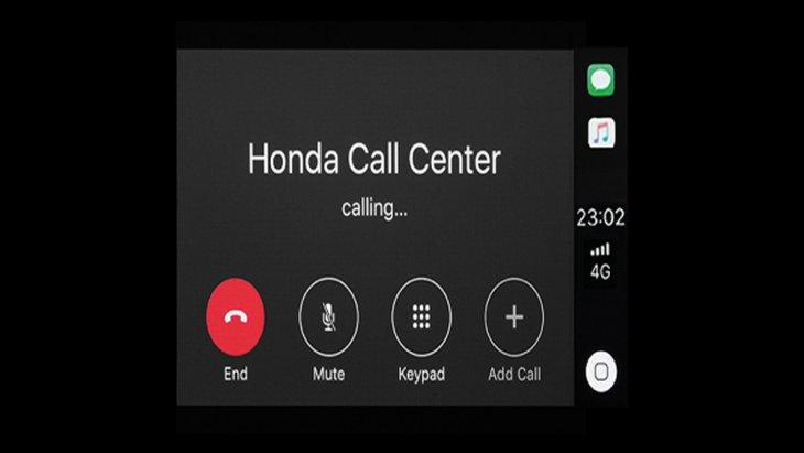 หน้าจอแสดงผลการเชื่อมต่อโทรศัพท์ไร้สาย และ ฟังก์ชั่นติดต่อ Honda Call Center ช่วยเหลือผู้ขับขี่เมื่อประสบเหตุ หรือ ต้องการความช่วยเหลือเร่งด่วน