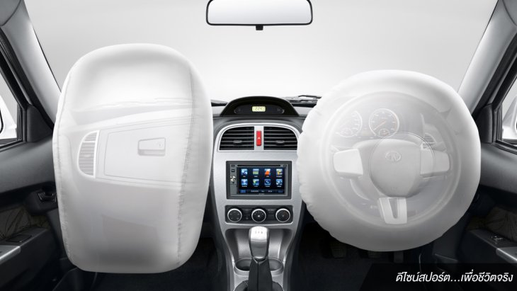 ถุงลมนิรภัย Dual Airbags คู่หน้า เพื่อช่วยลดแรงกระแทกและอาการบาดเจ็บเมื่อเกิดอุบัติเหตุ
